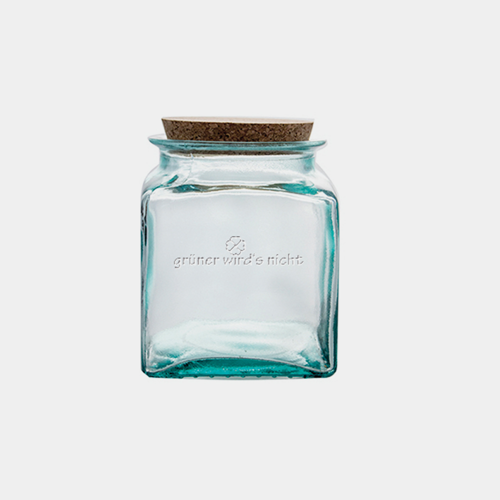 Vorratsglas corkstock aus recyceltem Glas - gwn-230 - L